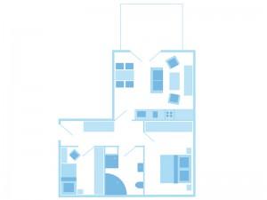max. 3 Personen / 1 Wohn- und 2 Schlafzimmer / Vollbad / WC