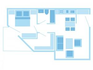 max. 4 Personen / 1 Wohnzimmer / 2 sep. Schlafzimmer / Dusche / WC