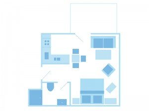 max. 2 Personen / 1 Wohn- und Schlafzimmer / Dusche / WC